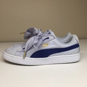 Puma lace bow sneakers. Blue and gold.
